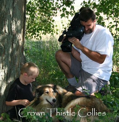 Quaker Farm Collies make wonderful reader dogs for children.  Reader Collie dog named Lassie being filmed by Animal Planet at Quaker Hill Farm.
