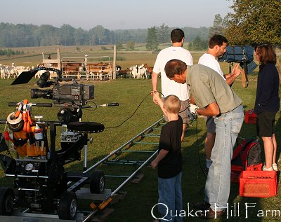 Animal Planet crew getting ready to film Collie dogs at Quaker Farm in Michigan